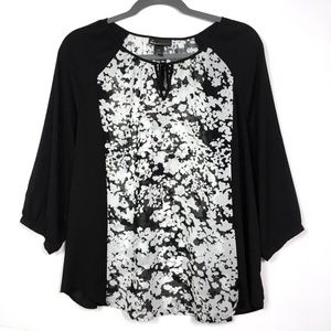 Lane Bryant Black White Scoop Neck Tie Blouse